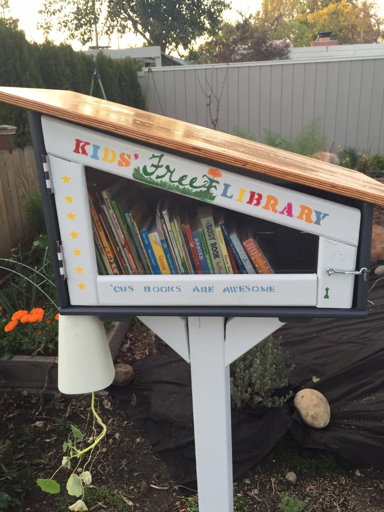 The Peifer-Brownfield family built a mid-century-modern Little Free Library for children on Hamilton. It was their son's request for his fourth birthday.