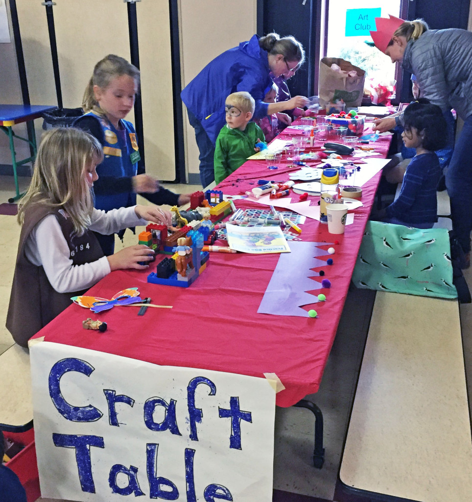 Maren Whitson (wearing crown) supervised the craft table.